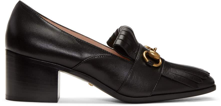 Gucci Black Polly Heeled Loafers