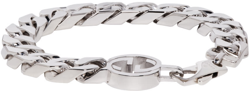 gucci male gucci silver gg logo bracelet