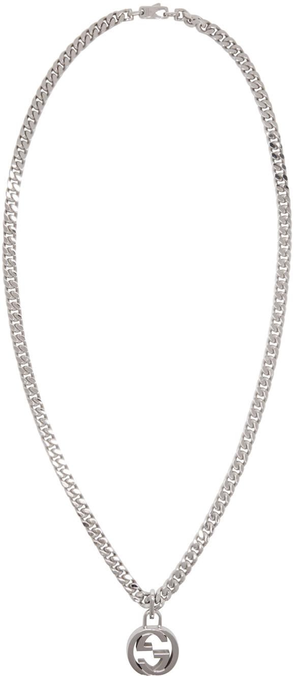 gucci male gucci silver gg necklace
