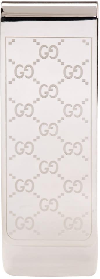 gucci male gucci silver gg logo money clip