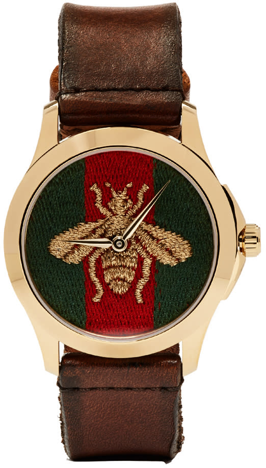 gucci male gucci gold medium gtimeless bee watch