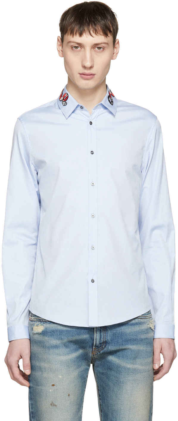 febac205c18 Gucci Blue Snake Collar Shirt