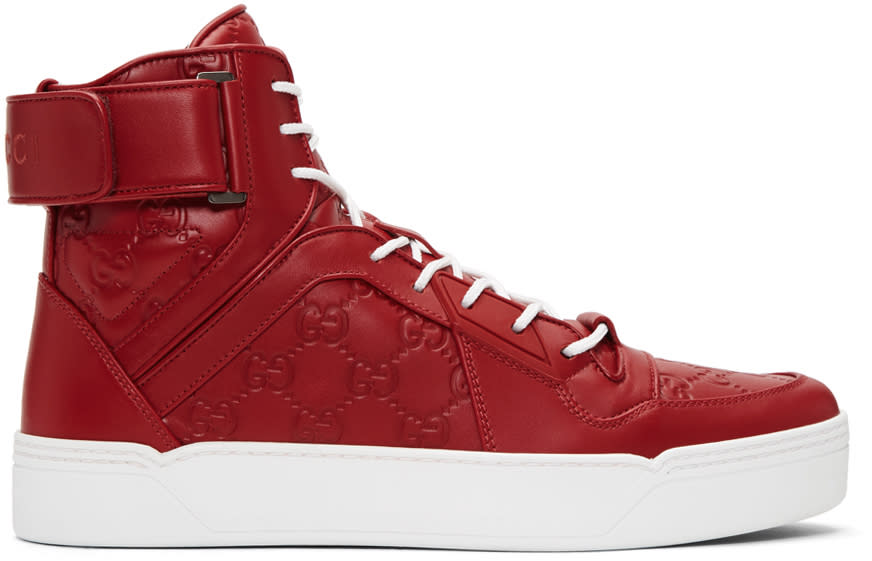 Gucci Red Gg Signature High-top Sneakers