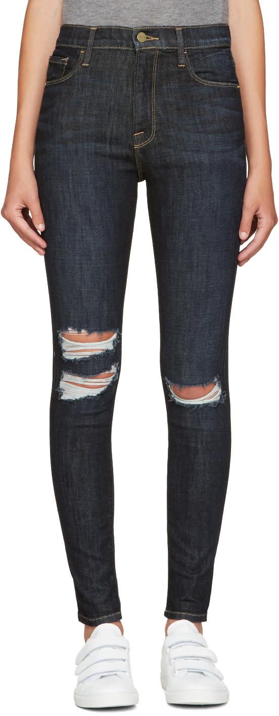 Frame Denim Navy Ali High-rise Skinny Jeans