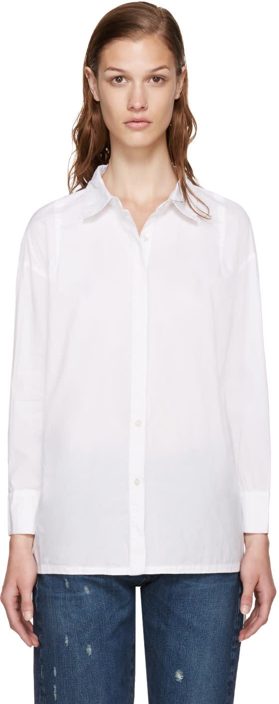 Frame Denim White Le Oversized Shirt