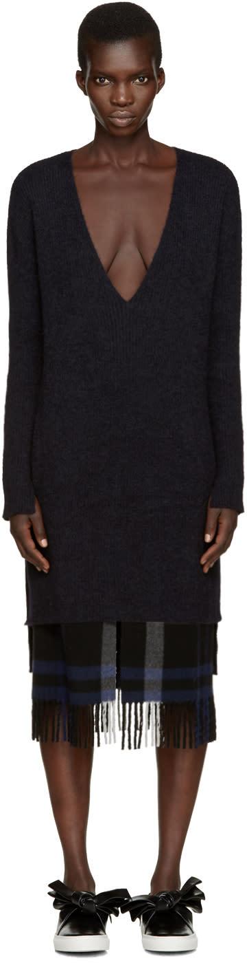 Cedric Charlier Black Mohair Dress