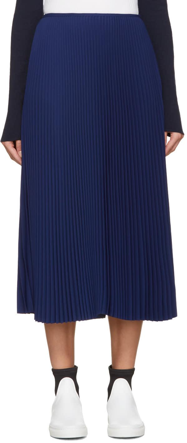 Cedric Charlier Blue Pleated Skirt
