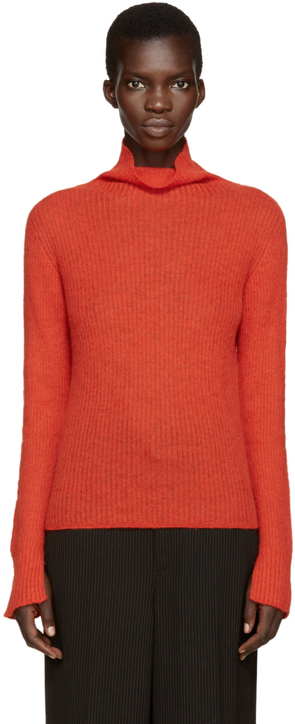 Cedric Charlier Red Mohair Turtleneck