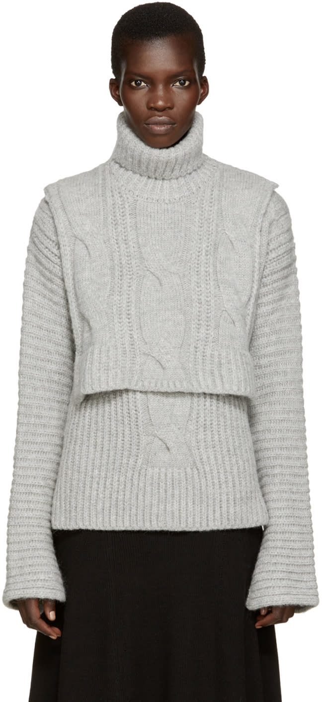 Cedric Charlier Grey Cable Knit Turtleneck Collar