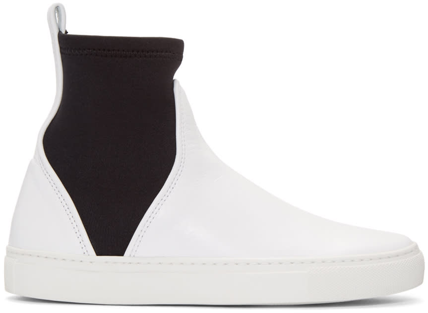 Cedric Charlier White Leather High-top Sneakers