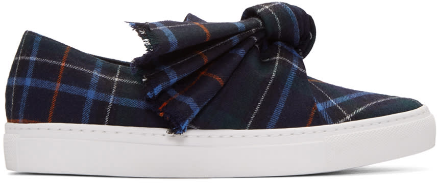 Cedric Charlier Navy Plaid Bow Slip-on Sneakers