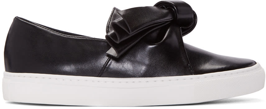Cedric Charlier Black Leather Bow Slip-on Sneakers