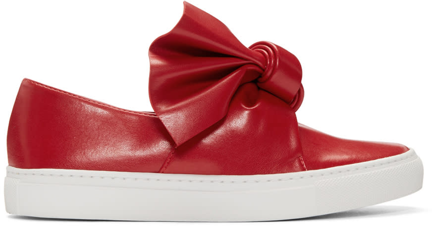 Cedric Charlier Red Bow Slip-on Sneakers