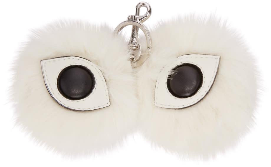Stella Mccartney Ivory Faux-fur Eyes Keychain