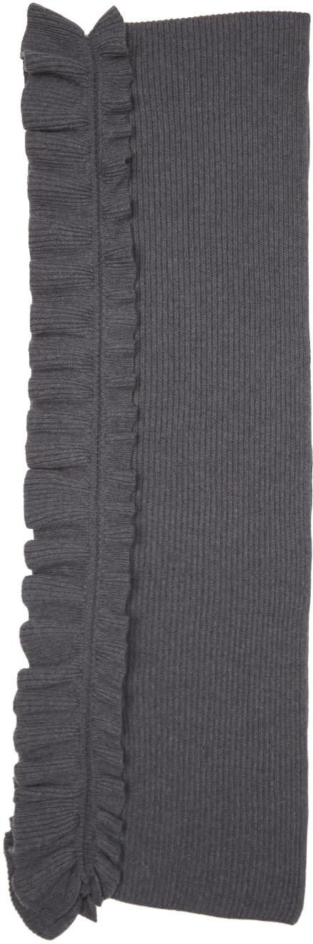 Stella Mccartney Grey Wool Ruffle Scarf