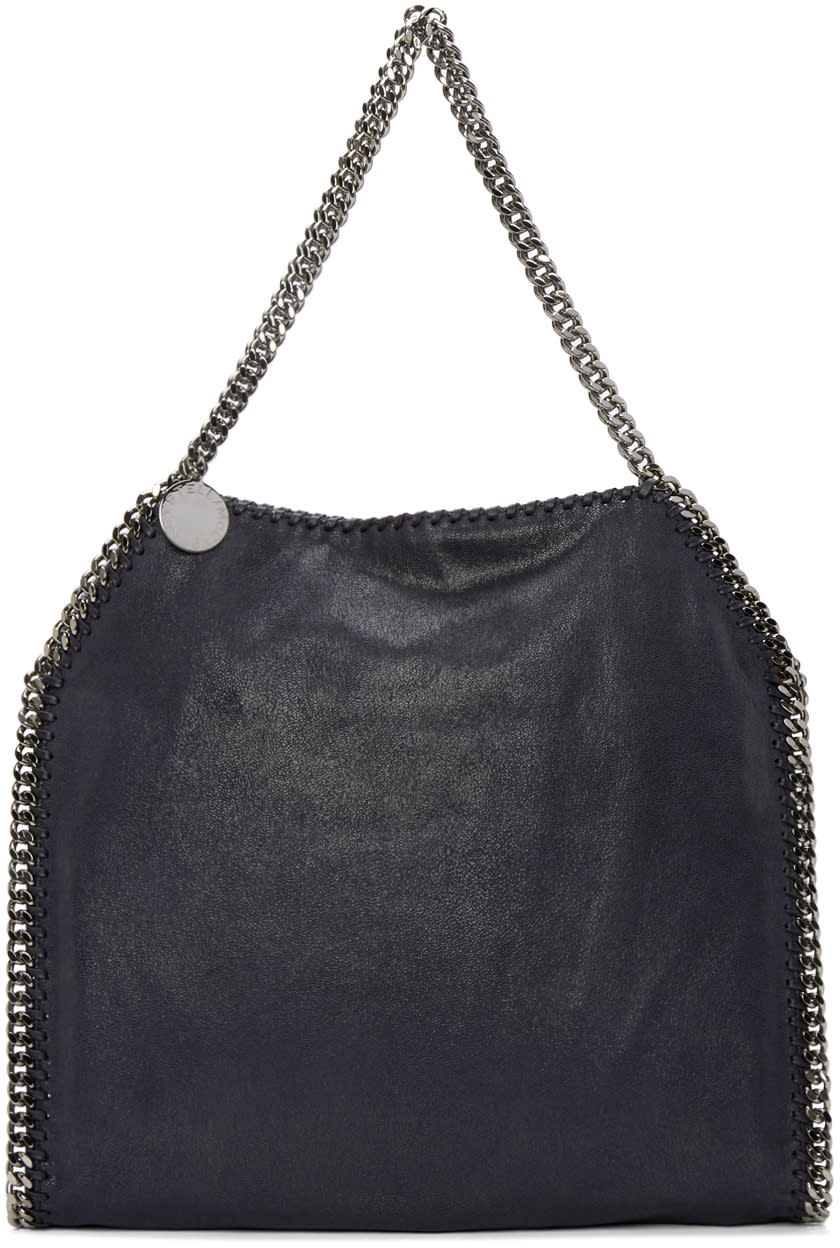Stella Mccartney Navy Small Falabella Shaggy Deer Tote