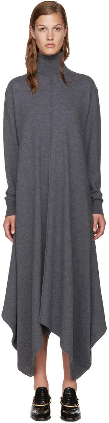 Stella Mccartney Grey Felted Frills Turtleneck Dress