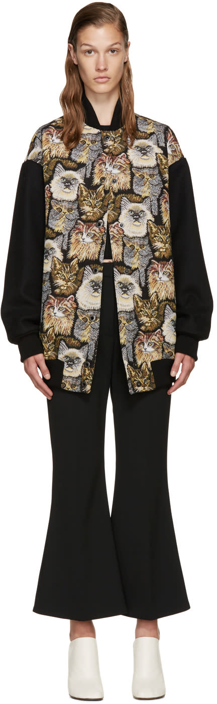 Stella Mccartney Multicolor Jacquard Cat Bomber Jackets