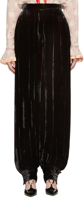 Stella Mccartney Black Velvet Fluid Trousers