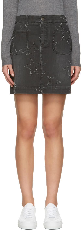 Stella Mccartney Black Denim Stars Miniskirt