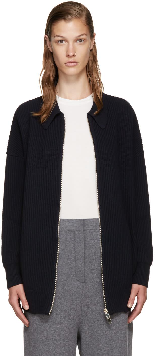 Stella Mccartney Navy Wool Zip-up Cardigan