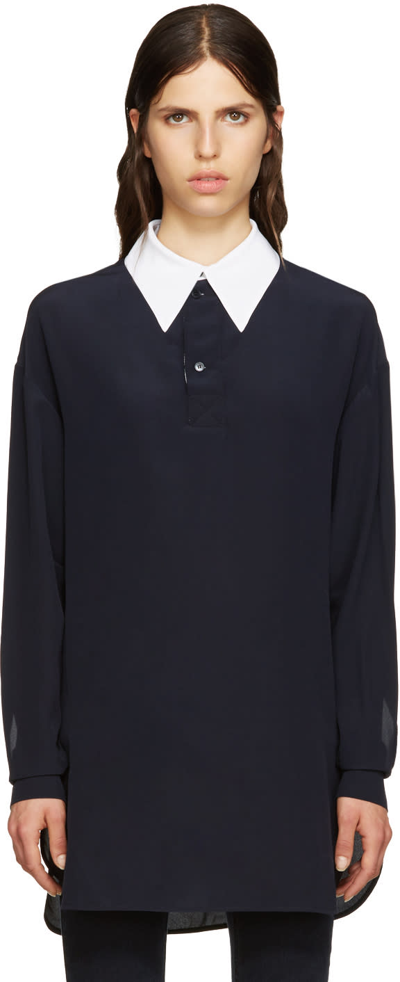 Stella Mccartney Navy Silk Collar Shirt