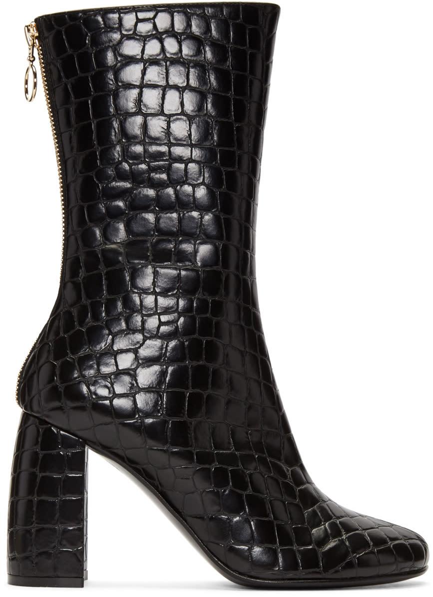 Stella Mccartney Black Croc-embossed Boots