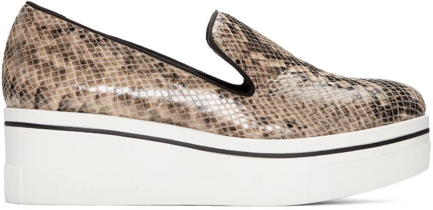 Stella Mccartney Beige Snake-embossed Binx Loafers