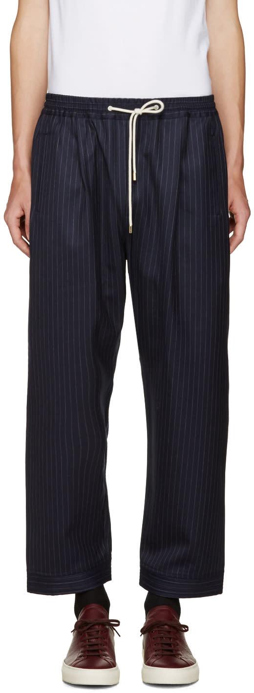 Umit Benan Navy Pinstripe Trousers