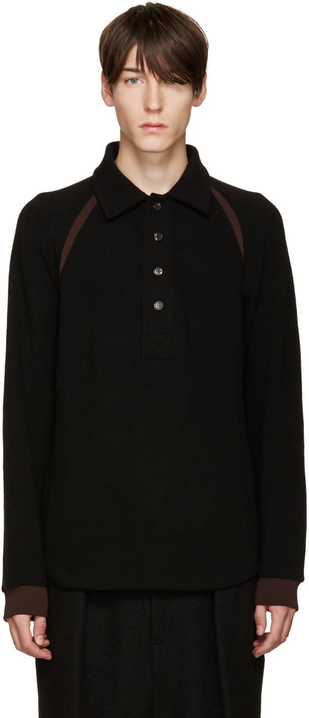 Umit Benan Black Knit Polo