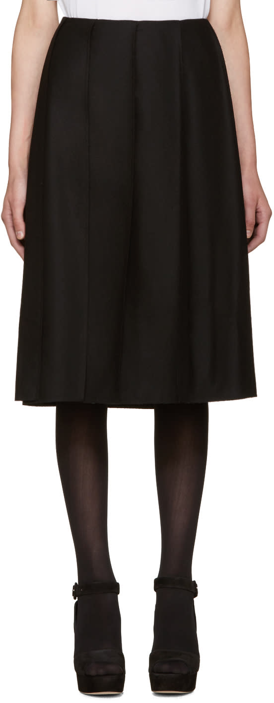 Nina Ricci Black Wool Pleated Skirt