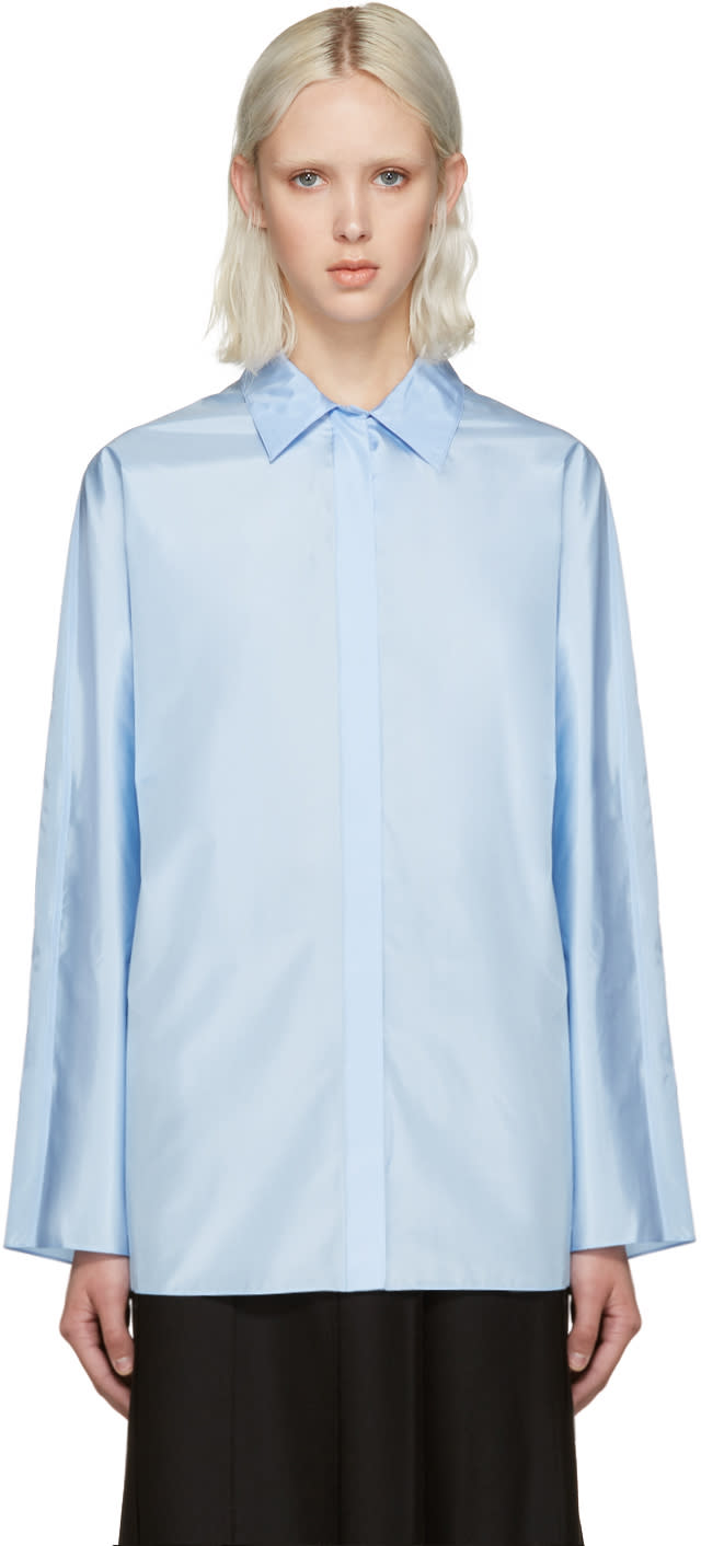 Nina Ricci Blue Technical Silk Blouse