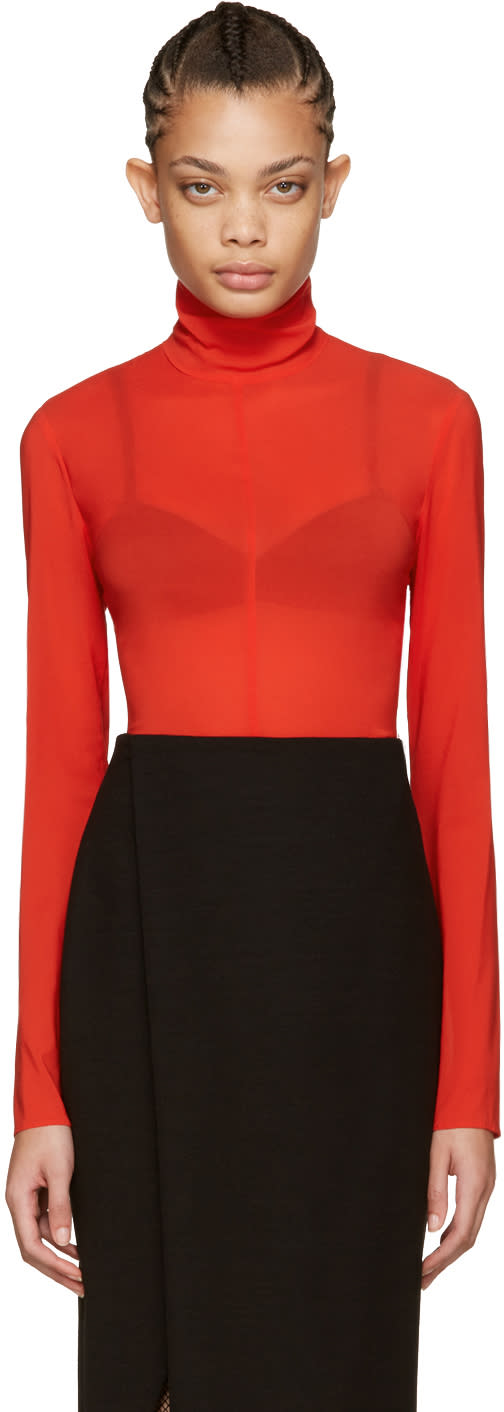 Nina Ricci Red Silk Turtleneck Bodysuit