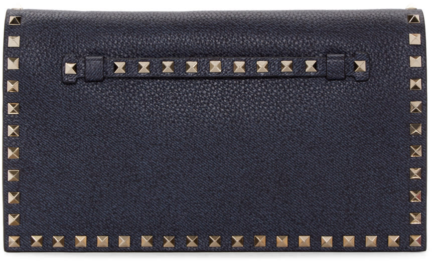 Valentino Blue Leather Rockstud Clutch