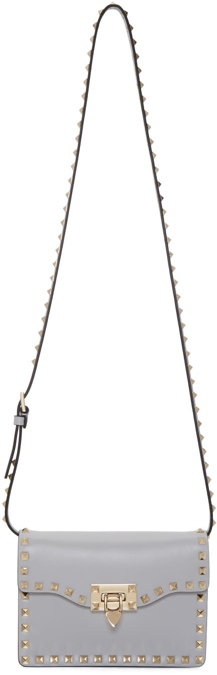 Valentino Grey Rockstud Flap Bag at SSENSE