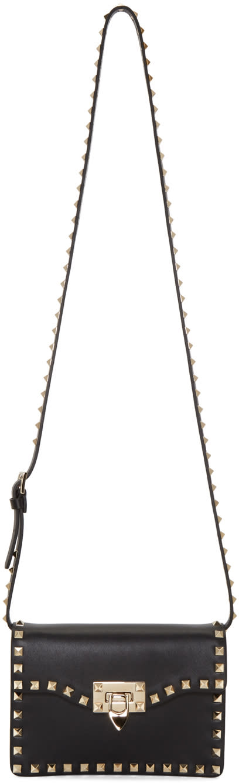 Valentino Black Rockstud Flap Bag at SSENSE