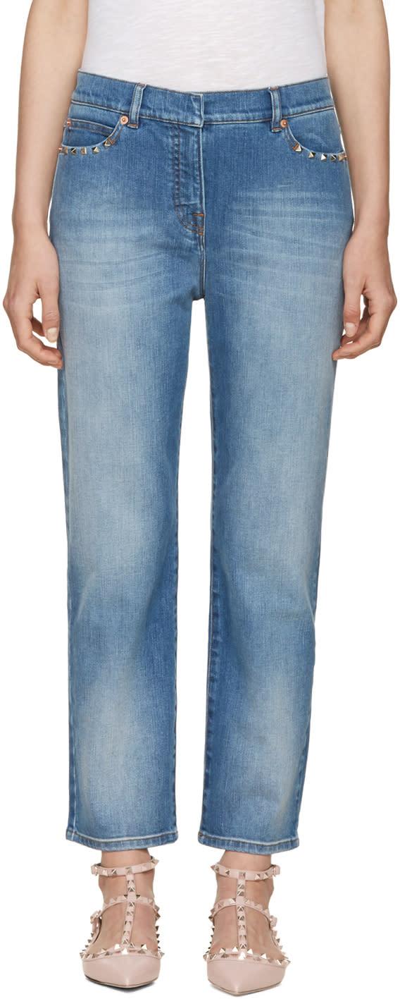 Valentino Blue Straight-leg Rockstud Untitled Jeans