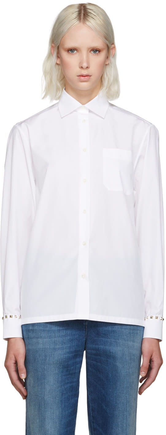 Valentino White Rockstud Untitled Shirt