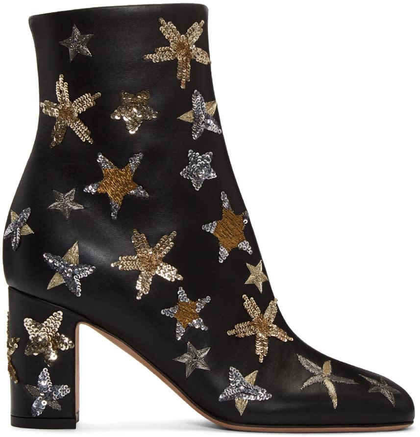 Valentino Black Stars Ankle Boots