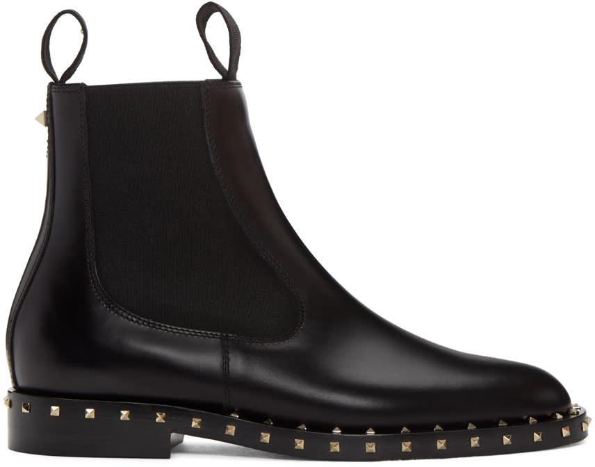 Valentino Black Soul Stud Chelsea Boots