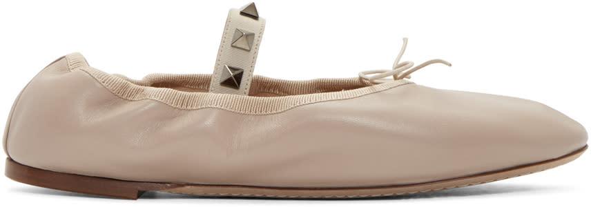 Valentino Beige Rockstud Ballerina Flats