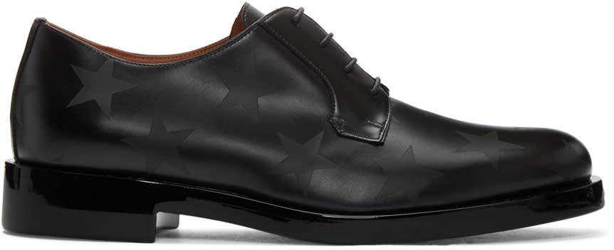 Valentino Black Leather Stars Oxfords