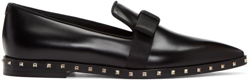 Valentino Black Soul Stud Bow Loafers