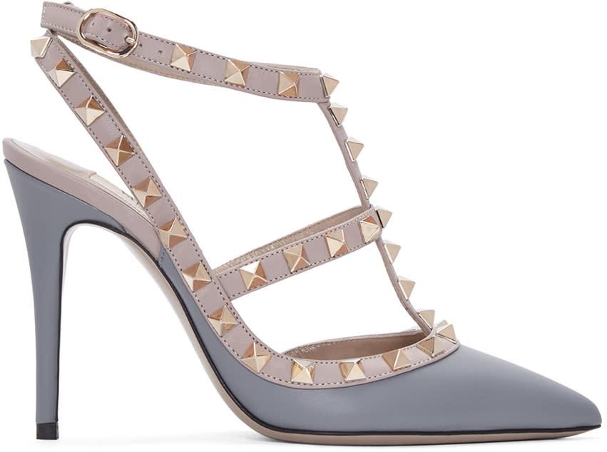 Valentino Grey and Pink Rockstud Cage Heels