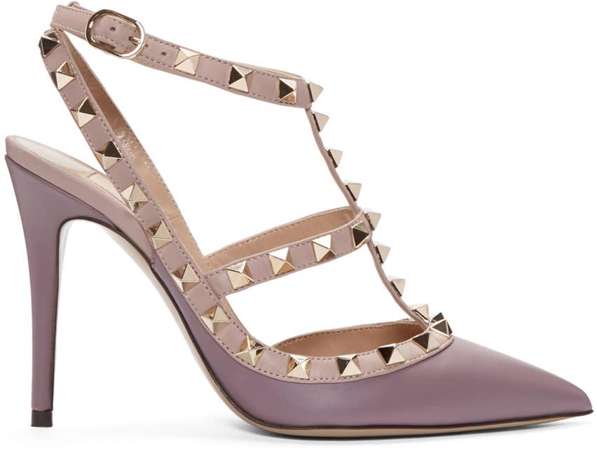Valentino Purple Rockstud Cage Heels