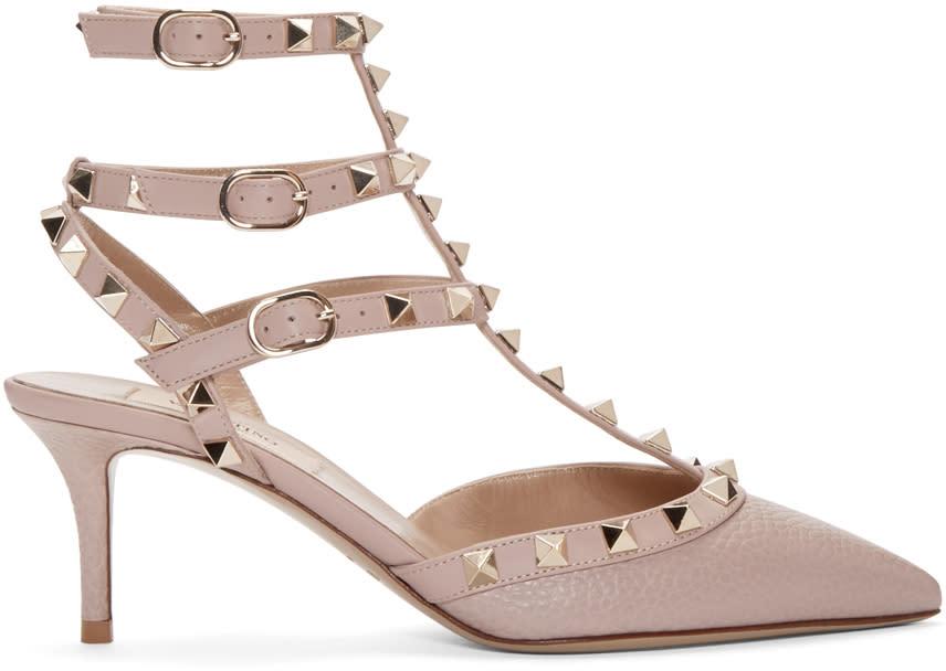 Valentino Pink Rockstud Strap Cage Heels
