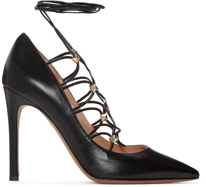 Valentino Black Rockstud Gladiator Heels