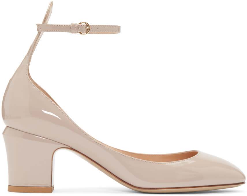 Valentino Taupe Patent Tan-go Mary Janes