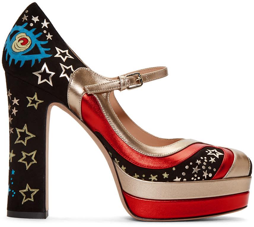 Valentino Black Cosmic Platform Heels