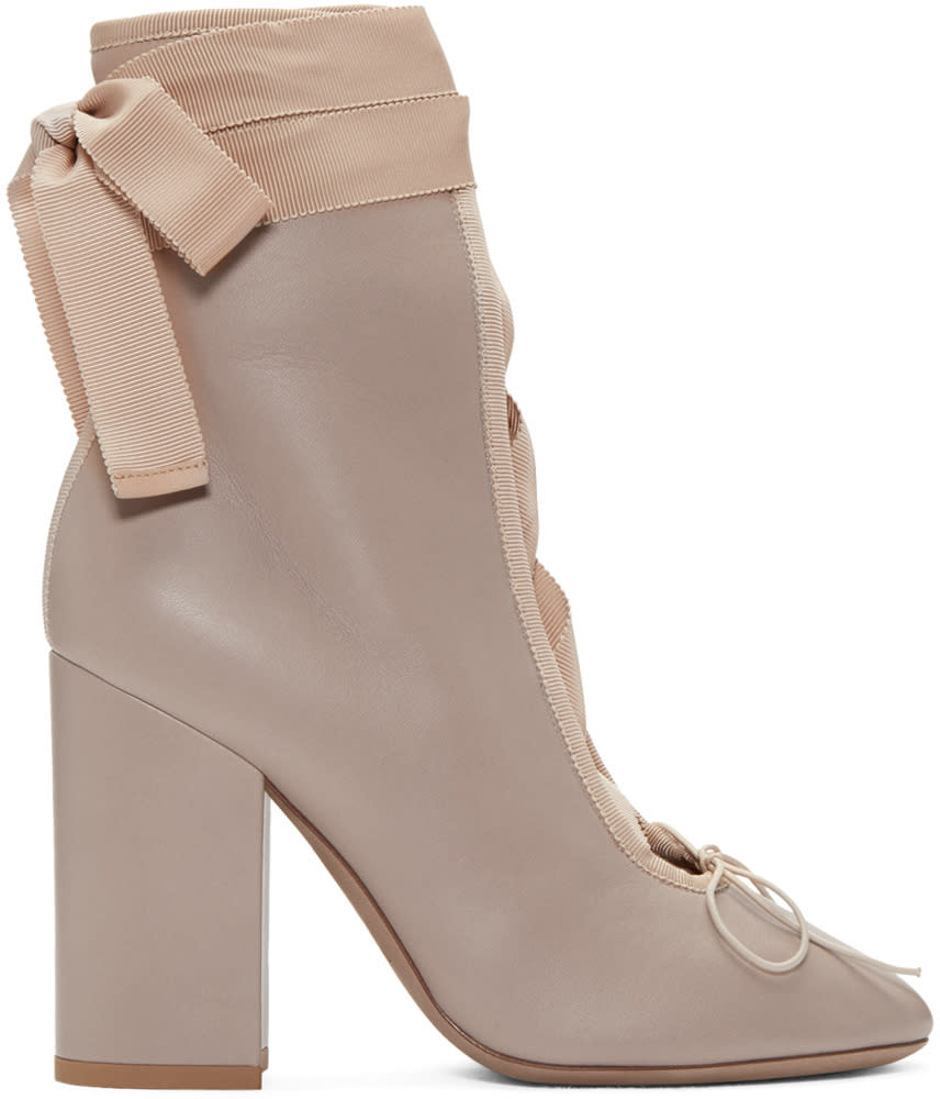Valentino Beige Lace-up Ballerina Boots